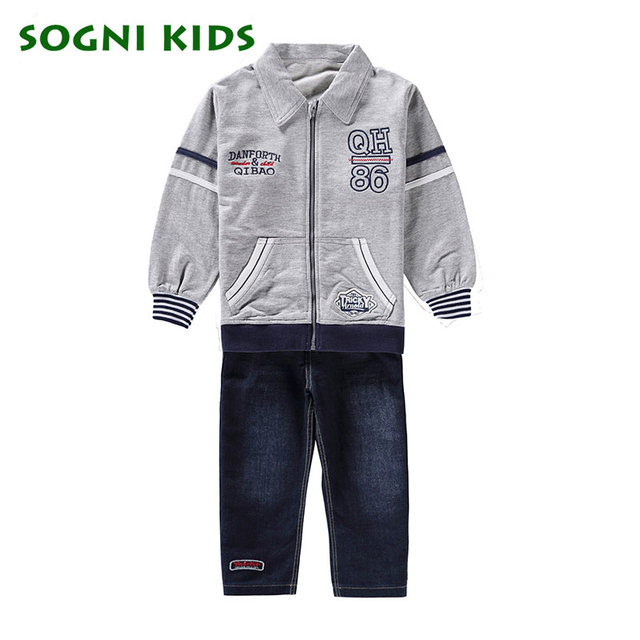 Boys clothing set spring coat+ jeans 2 pieces Set casual kids set for boys clothes turn-down jacket+denim pants