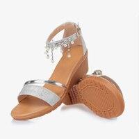 2017 Summer New Women Flat Sandals Gold Silver Suede Women Sandals Female Shoes Chaussure Femme 50