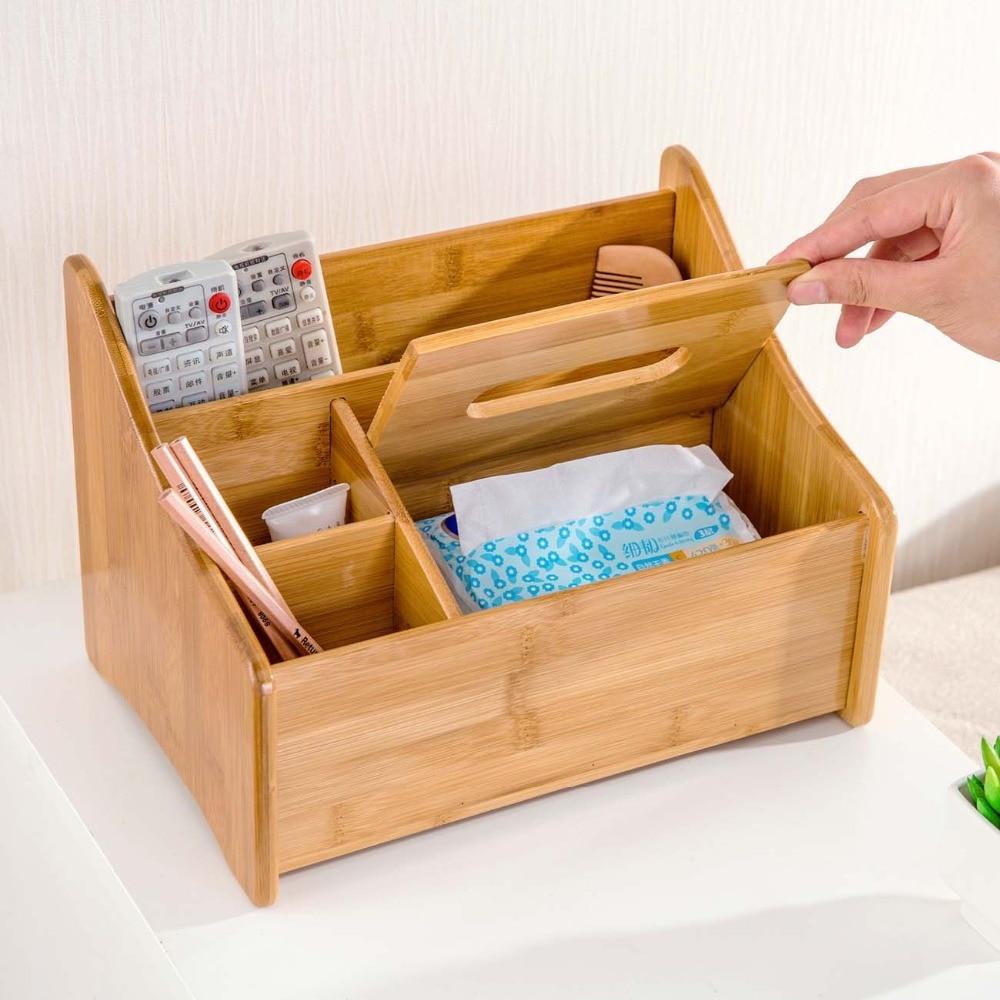 Bambou Boîte De Rangement pour papier télécommande Écologique Planche de Bois Maquillage Organisateur Petite Maison Bureau organiseur de bureau