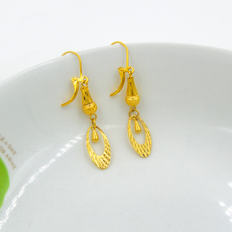 24k women\'s drop earring brass gold plated gold Women earrings ...