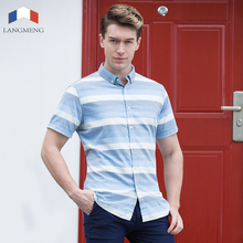 Langmeng 2017 New Men Fashion Slim Fit Casual Shirts Short Sleeve Dress Striped Shirt Cotton and linen easy care fashion