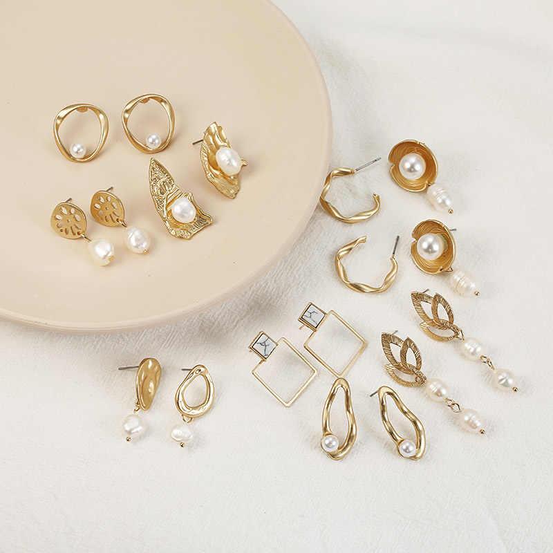 Nova moda irregualr simulado pérola brincos de gota cor dourada metal geométrica orelha jóias presente para festa casamento brincos