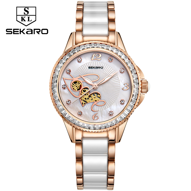 SEKARO Women Ceramic Rhinestone Clock Love Design Watch Women's Wristwatch Top Brand Luxury Women Watches Gift Relogio Feminino meibo brand fashion women hollow flower wristwatch luxury leather strap quartz watch relogio feminino drop shipping gift 2012