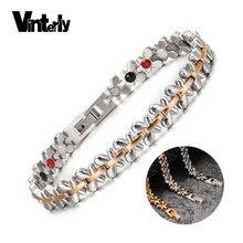 Vinterly, стальной магнитный браслет, Женская цепочка, золотые магнитные браслеты для женщин, Цветок, энергия, германий, голограмма, браслеты дл...