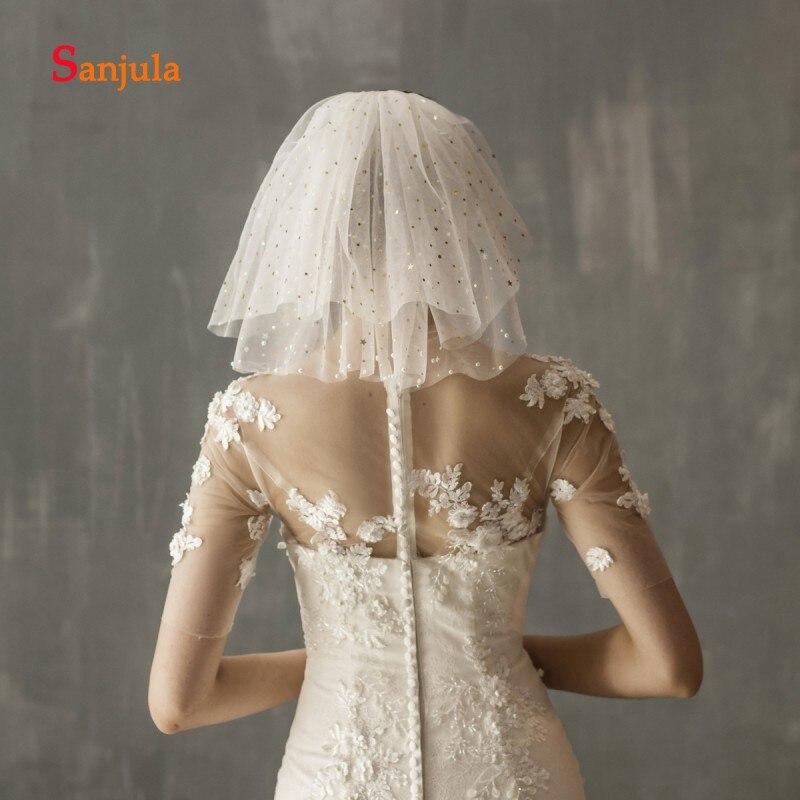 Gold Shiny Stars Shoulder Length Short Veil Pure White Wedding Veils With Comb Two-Layer Wedding Accessories Velos De Novia V126