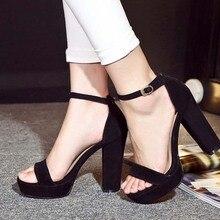 2016 new fashion women gladiator thick high heels sandals ladies genuine leather suede roman summer buckle platform pumps shoes