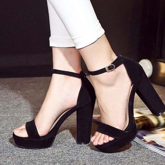 62bc546a 2018 nuevas sandalias de tacón alto gruesas de gladiador a la moda para  mujer, zapatos