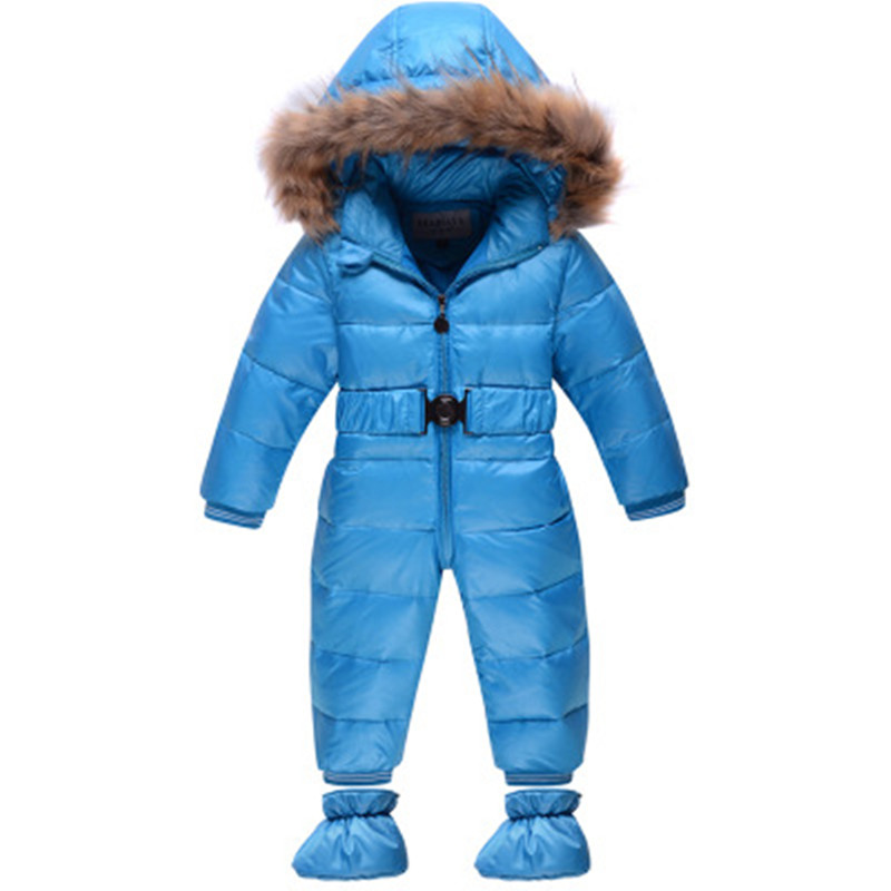 2016 Winter Down Jacket Infants 90% White Duck Down Rompers Boys Girls Outwear Pure Color Children Snow Wear 9 Colors Wholesale winter warm down jacket infants white duck down rompers boys girls baby outwear solid fur hooded snow parka zip thick clothes