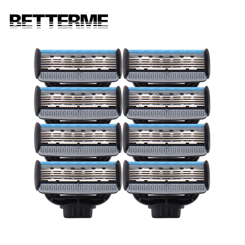 BETTERME 8pcs/lot High Quality Blades 5 Layer Shaving Blade Cartridge for Mens Barber Shaver Standard for RU&EU
