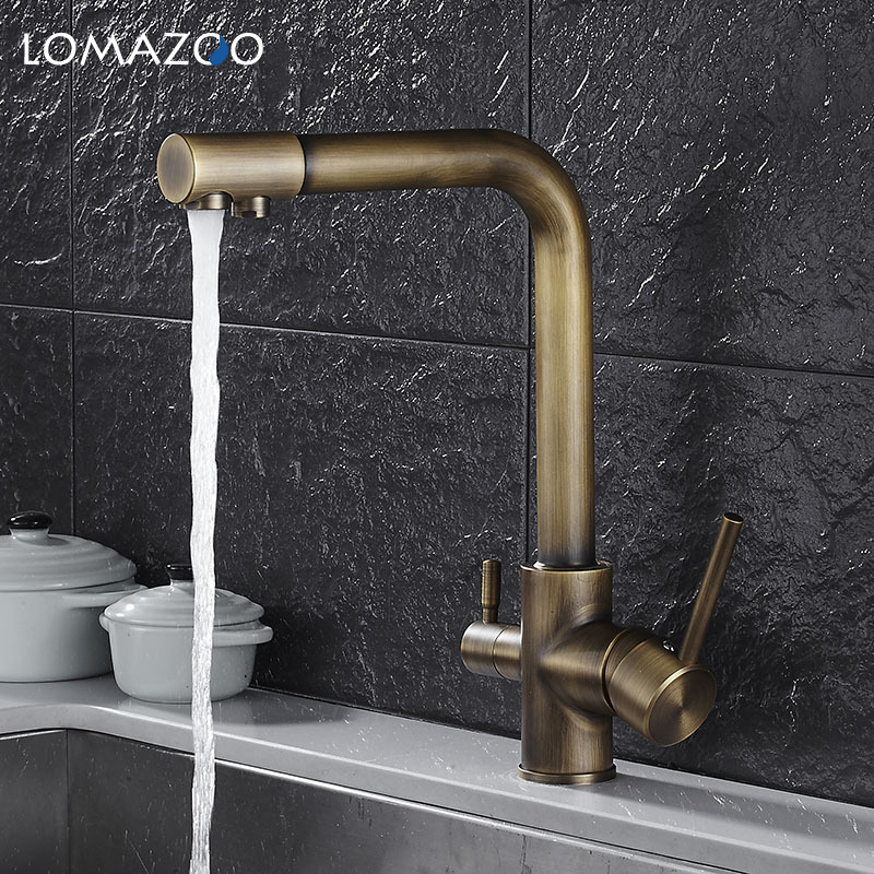 купить LOMAZOO Double Tap Kitchen Faucet Bathroom Sink Faucet Rotatable Waterfall Faucet Single Handle Brass Rotate mixer по цене 5039.97 рублей