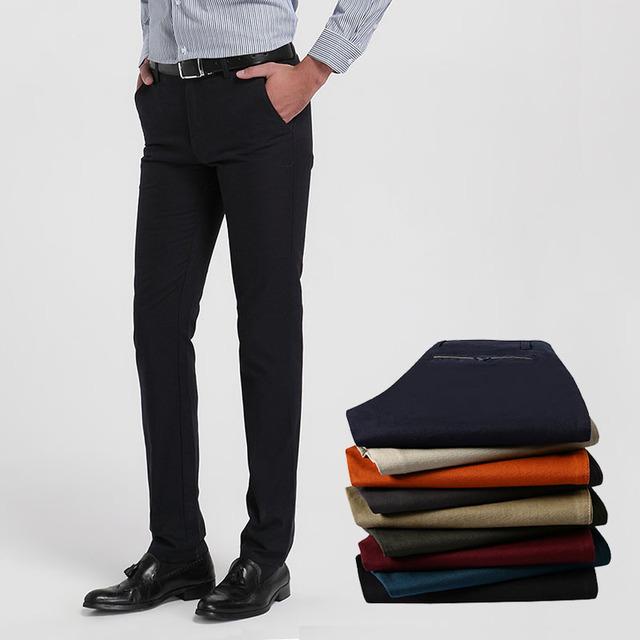 2016 Primavera nueva alta calidad de gran tamaño 29-40 pantalones largos de los hombres de los hombres suelta y cómoda casual de negocios pantalones de algodón pantalones Masculinos