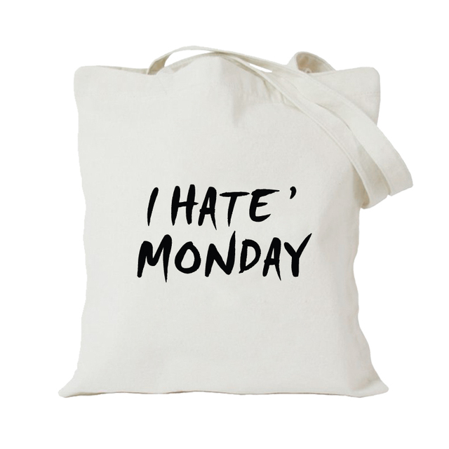 36eb72c6c31 muis/original design/fashion korea style fresh canvas bags eco friendly  shopping bag women's shoulder bag/I hate monday/white-in Men's Costumes  from ...