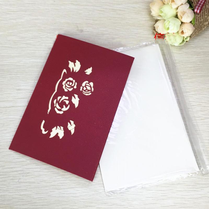 1pcs Flower Baskets Laser Cut Kirigami 3D Pop UP Greeting & Gift DIY Cards Handmade Creative Thanksgiving Day Birthday Gifts