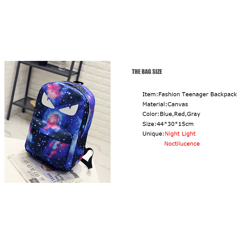 BONAMIE Night Light Cool Backpack Canvas Backpacks Luminous School Bags For Teenager  Girls Boys Book Bag Starry Sky Backpack-in Backpacks from Luggage ... a6bafd5ab8884