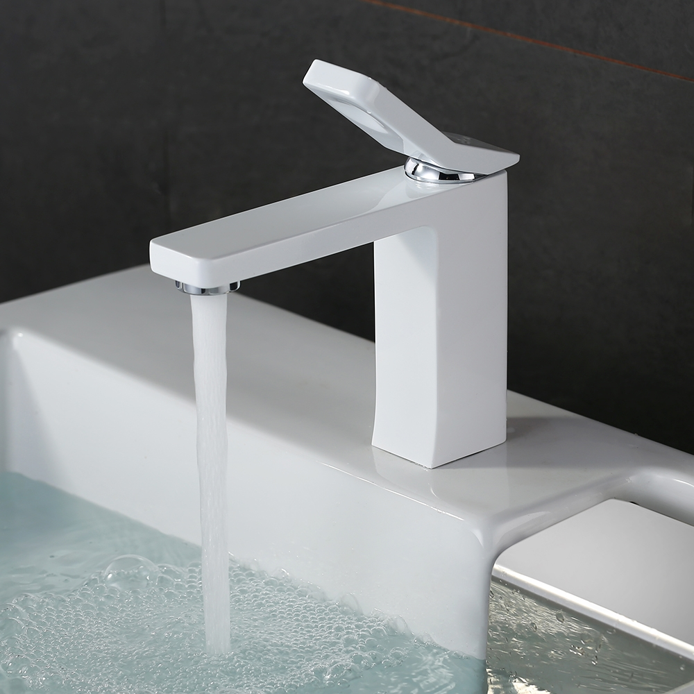 Solid brass new model square white basin mixer bathroom faucet water ...