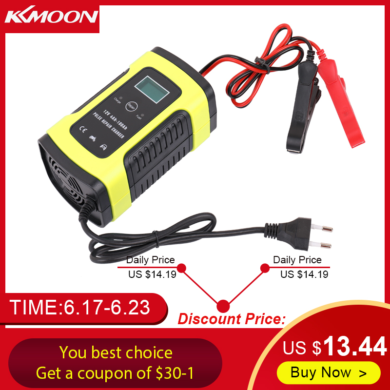 Full Automatic Car Battery Charger 110V-220V To 12V 6A Intelligent Fast  Power Charging Wet Dry Lead Acid Digital LCD Display