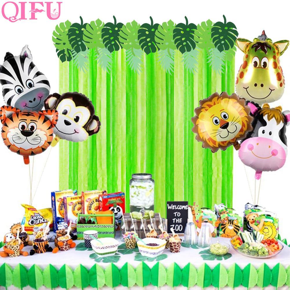 QIFU Jungle Party Backdrop Set Safari Favors Happy Birthday Decorations Kids Dinosaur Theme Supplies