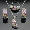Christmas Gift Multicolor Stones Silver Color Jewelry Sets Necklace Pendant Hoop Earrings Rings For Women Free Gift Box