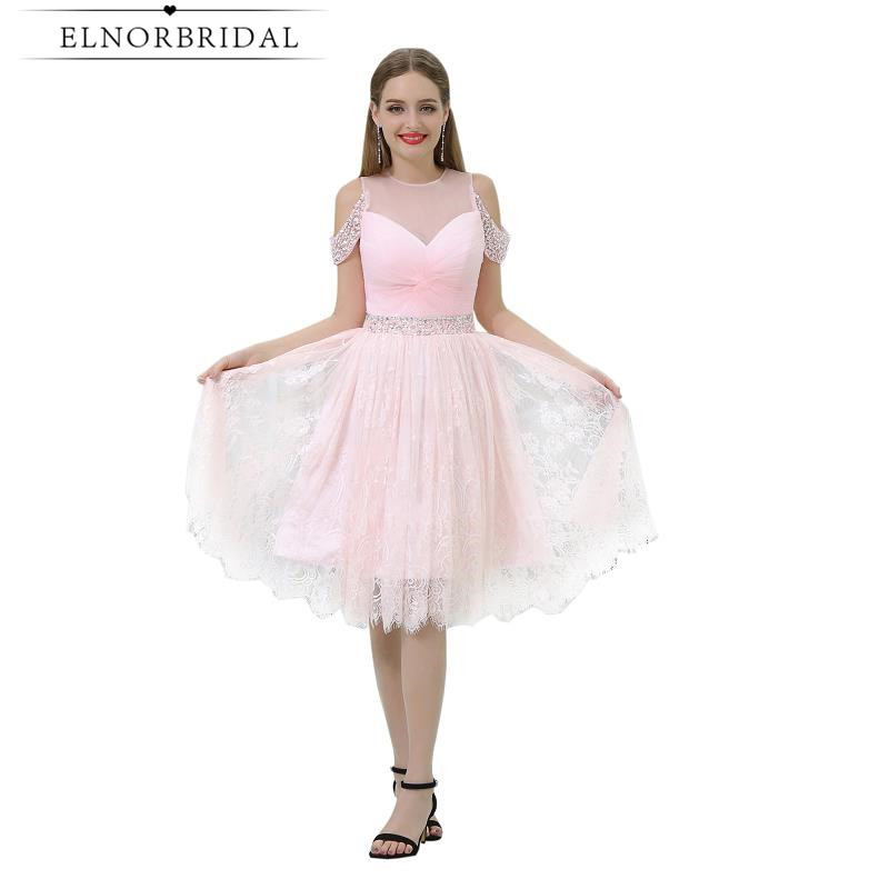 Blush Pink Lace   Cocktail     Dresses   Knee Length 2019 Sexy Off The Shoulder Prom   Dress   Vestido De Festa Curto De Luxo Party Gowns