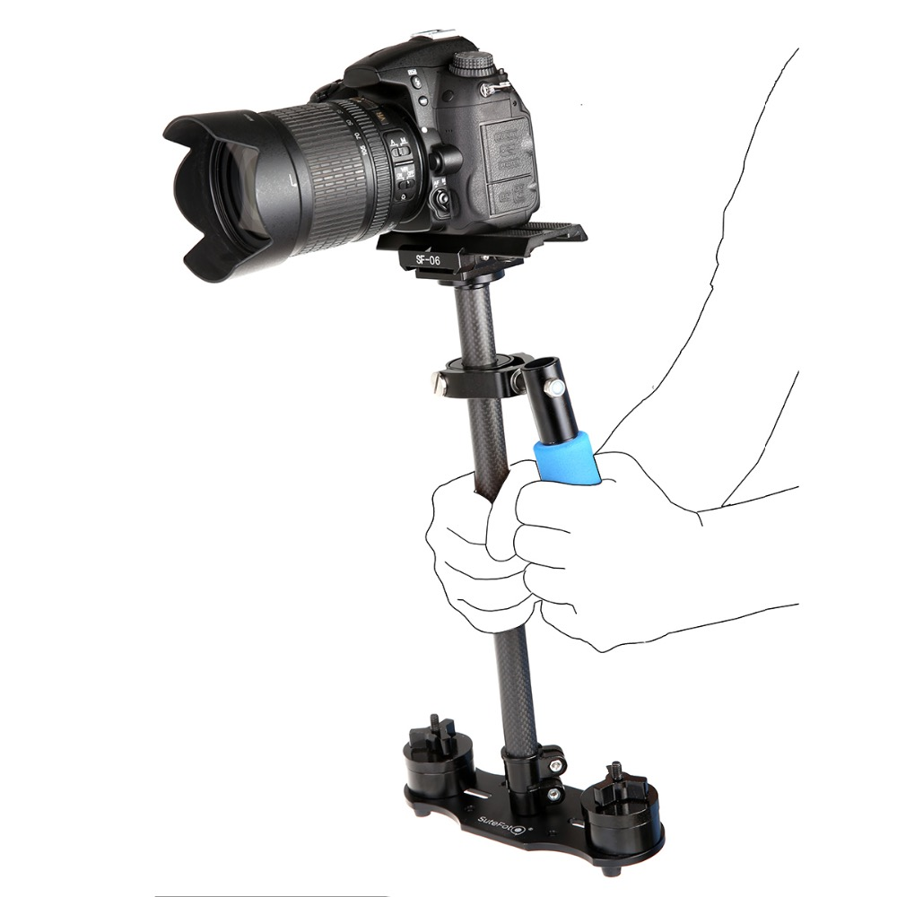 SuteFoto SF 08 80cm Carbon Fiber Handheld Stabilizer with Quick Release Plate for Camcorder DV Video Camera DSLR in Photo Studio Accessories from Consumer Electronics