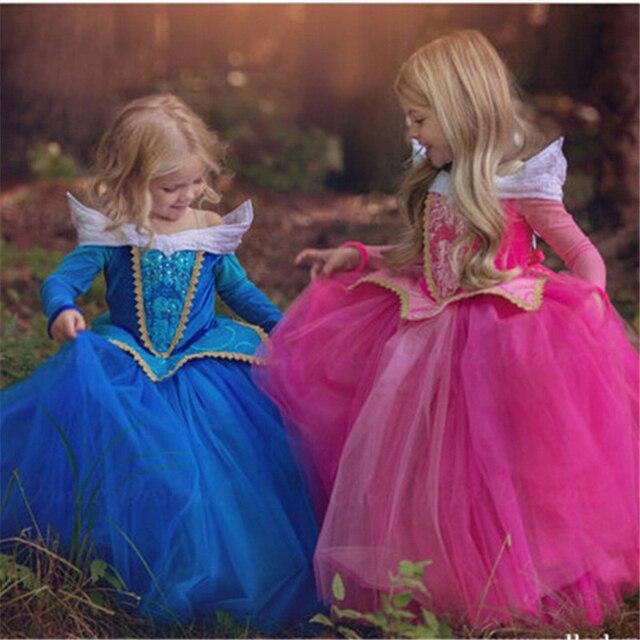 5 6 7 8 9 10 anos Meninas Vestido de Halloween Cosplay Bela Adormecida Princesa Vestidos de Festa de Natal Do Traje Das Crianças Das Crianças roupas