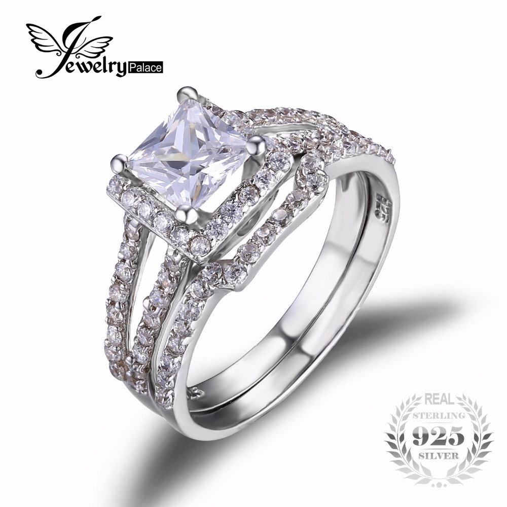 Jewelrypalace Princess Cut 2ct Cubic Zirconia Anniversary Wedding Band Engagement  Ring Bridal Sets 925 Sterling Silver
