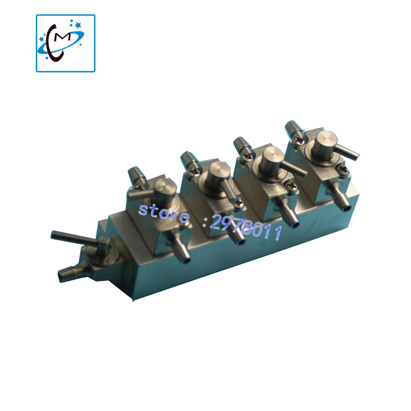 best quality 4 unit metal hand valve for infiniti iconteck crystaljet large format printer printhead cleaning valves unit стоимость