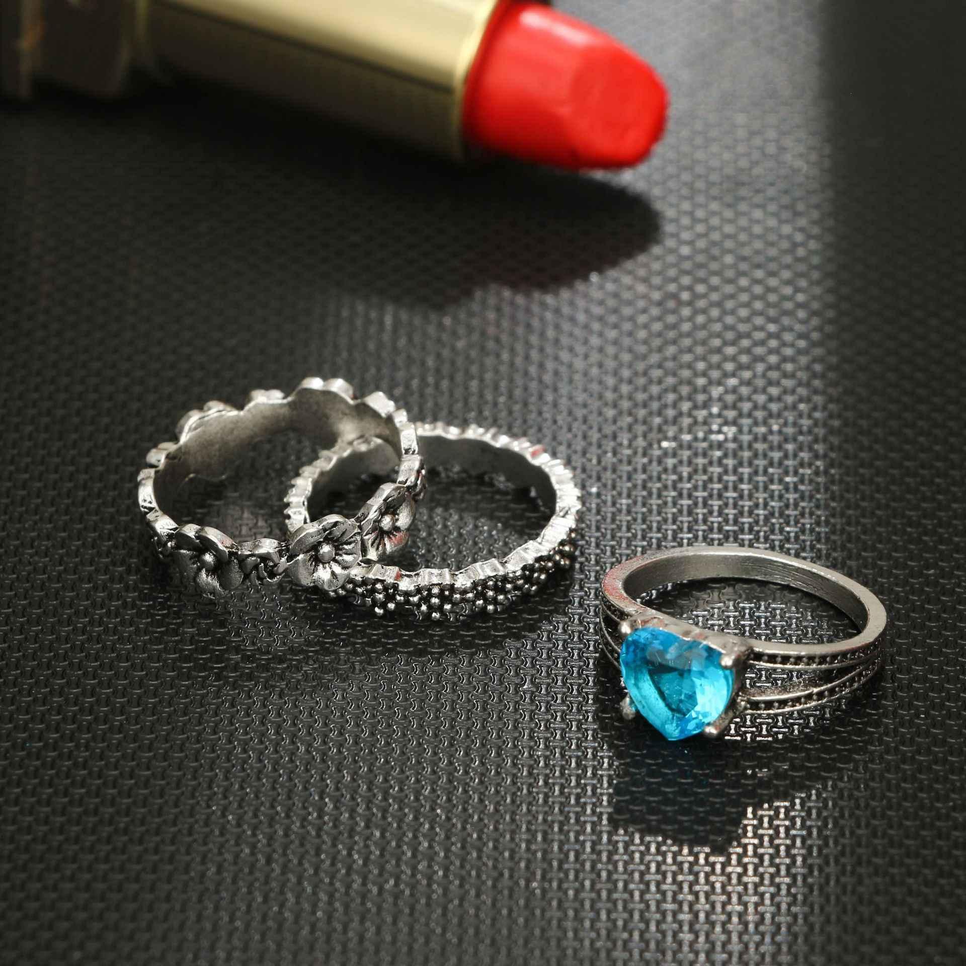 1 ชุด Ocean Blue Vintage Knuckle แหวนผู้หญิง Boho ดอกไม้เรขาคณิตชุดแหวนคริสตัล Bohemian เครื่องประดับนิ้วมือ