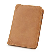 Genuine Leather Men's Wallets Cowhide Purse Vintage Short RFID Blocking Bag Card Holder Small Clutch Character Wallet Male Pouch