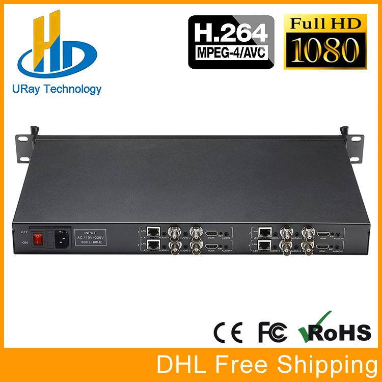 цена 1U Rack 4 In 1 HDMI + CVBS + Stereo Audio Encoder IPTV 4 Channels HD SD Video Encoder H.264 Live Streaming Encoder Transmitter