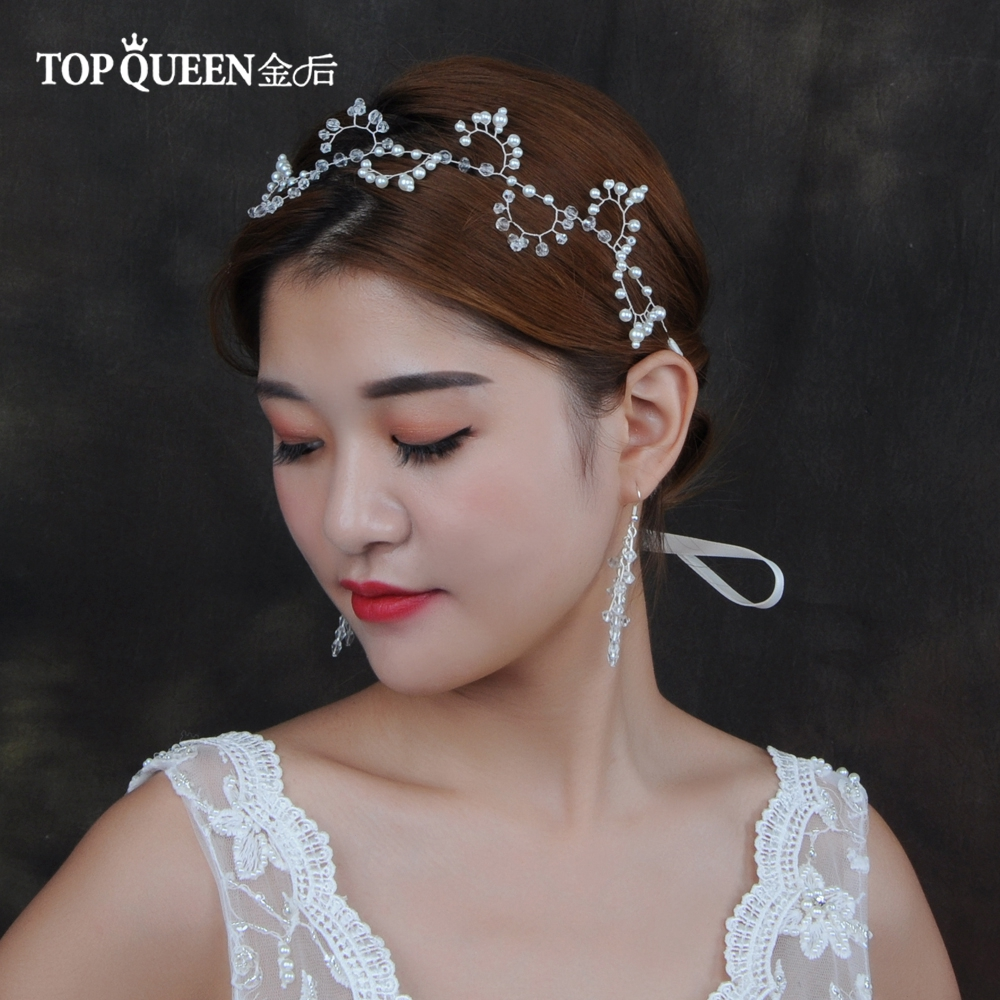 TOPQUEEN HP94 Wedding Hair Accessories Wedding Tiara Bridal Headband Wedding Headwear Crystal Wedding Hairband Bridal Headwear