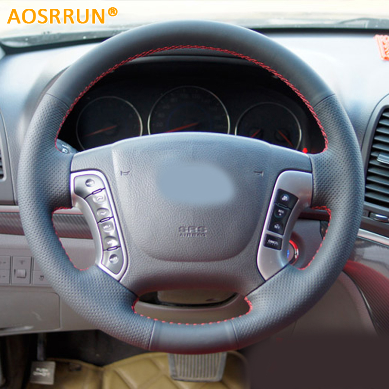 AOSRRUN Car-styling Leather Hand-stitched Car Steering Wheel Covers For Hyundai Santa Fe 2006-2012 Car accessories