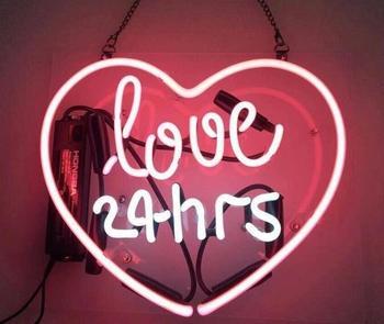 Love 24hrs Glass Neon Light Sign