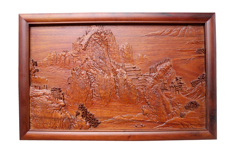 Dongyang wood carving plaque hanging boutique cross screen pendant Chinese classical background shipping landscape partition