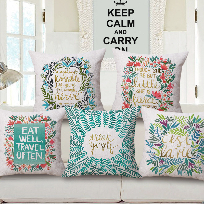Square 18 Vintage Home Decor Pillow Covers Decorative Flower World Cover Cushion Sofa Throw Pillows Customized Drop Shipping