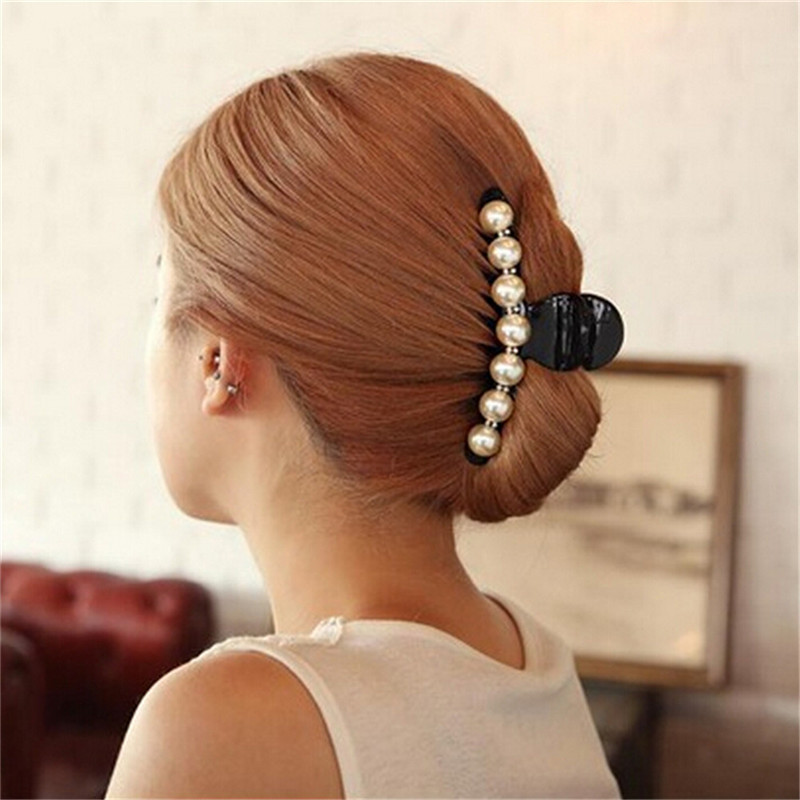 Luxury Pearls Hairpins Hair Ornaments Trendy Shiny Rhinestone Hair Clip Crab Hair Claws For Women Girl Accessories   Headwear