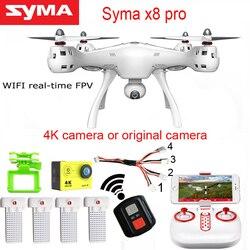 SYMA DRON X8PRO GPS WIFI FPV Com 720 P HD Da Câmera ou Câmera Real-time H9R 4 K zangão 6 eixo Altitude Hold x8 pro RC Quadcopter RTF