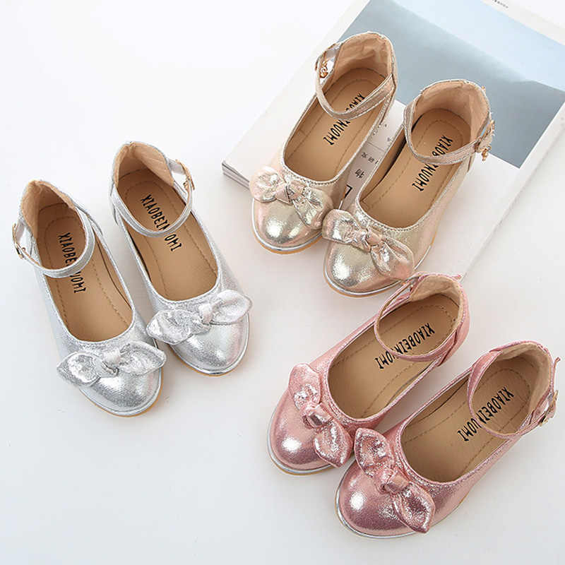 Children Shoes Girls Party Shoes Ankle Strap 3-9 Year Old Dance Kids Shoes  Bow 581213924bf3