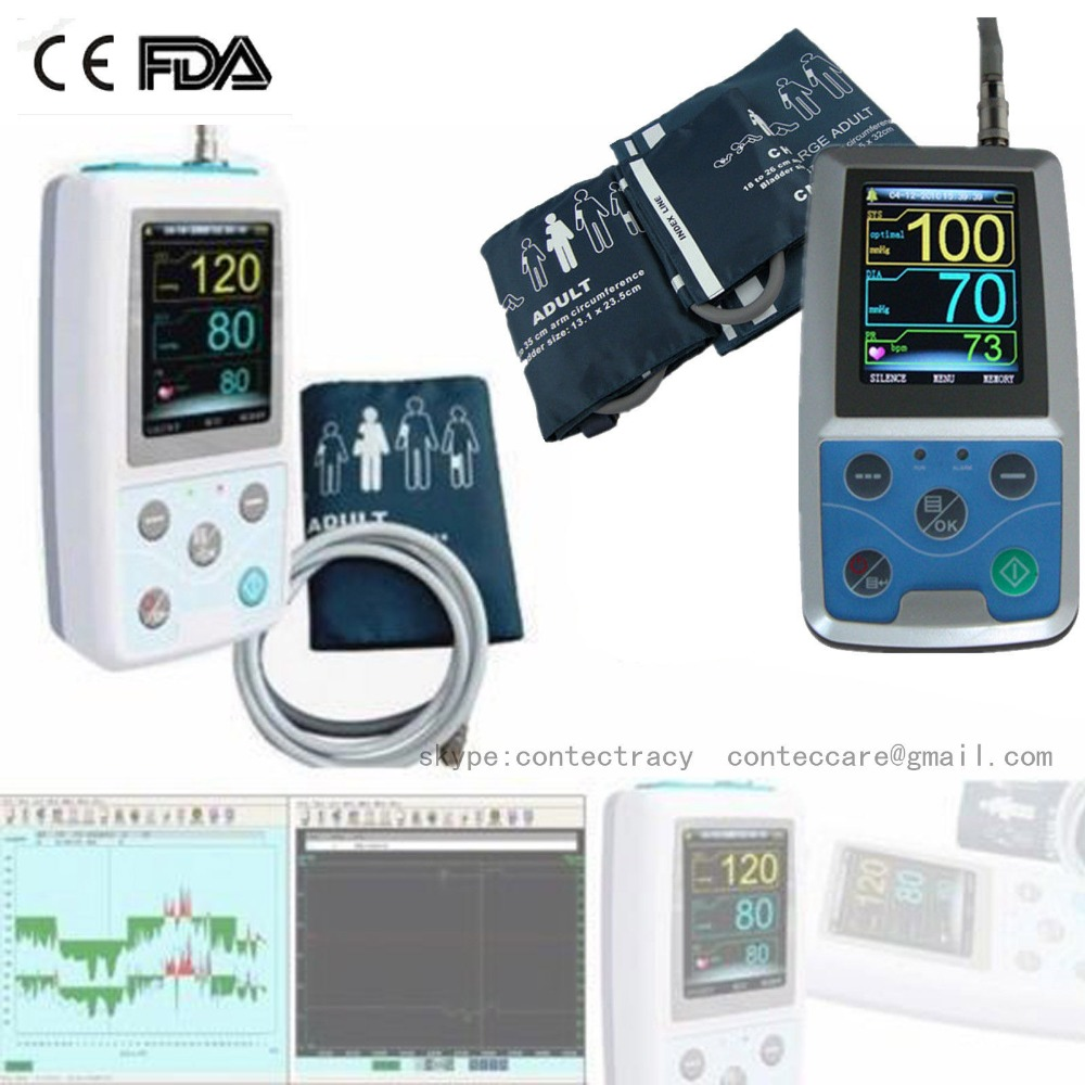 CE CONTEC ABPM50 Automatic Ambulatory Blood Pressure Monitor 24Hrs NIBP,