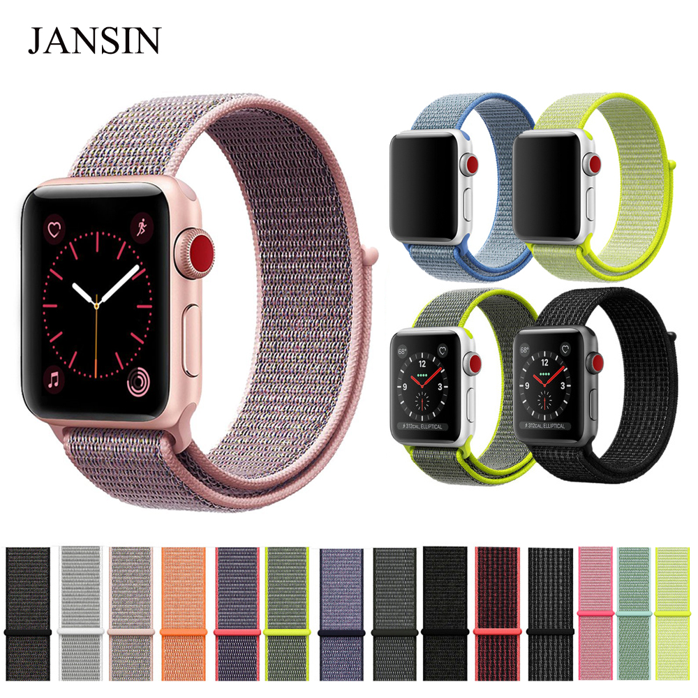 JANSIN Woven nylon Sport loop For Apple Watch band 42mm 38mm Series 1/2/3 Replacment Band watch strap bracelet for iWatch survival nylon bracelet brown