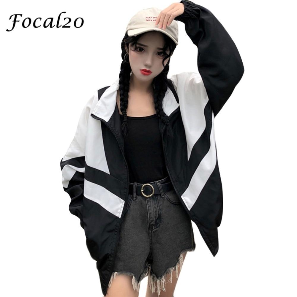 Focal20 Streetwear Hit Color Letter Print Women Jacket Coat Zipper Preppy Spring Autumn Coat Outwear