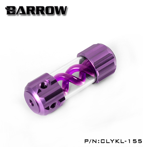 Barrow Aluminum Purple VIRUS T cylinder water reservoir water tank 155mm computer water cooling UV Lighting included CLYKL155 390mm cylinder water tank sc600 pump all in one set maximum flow 600l h computer water cooling radiator