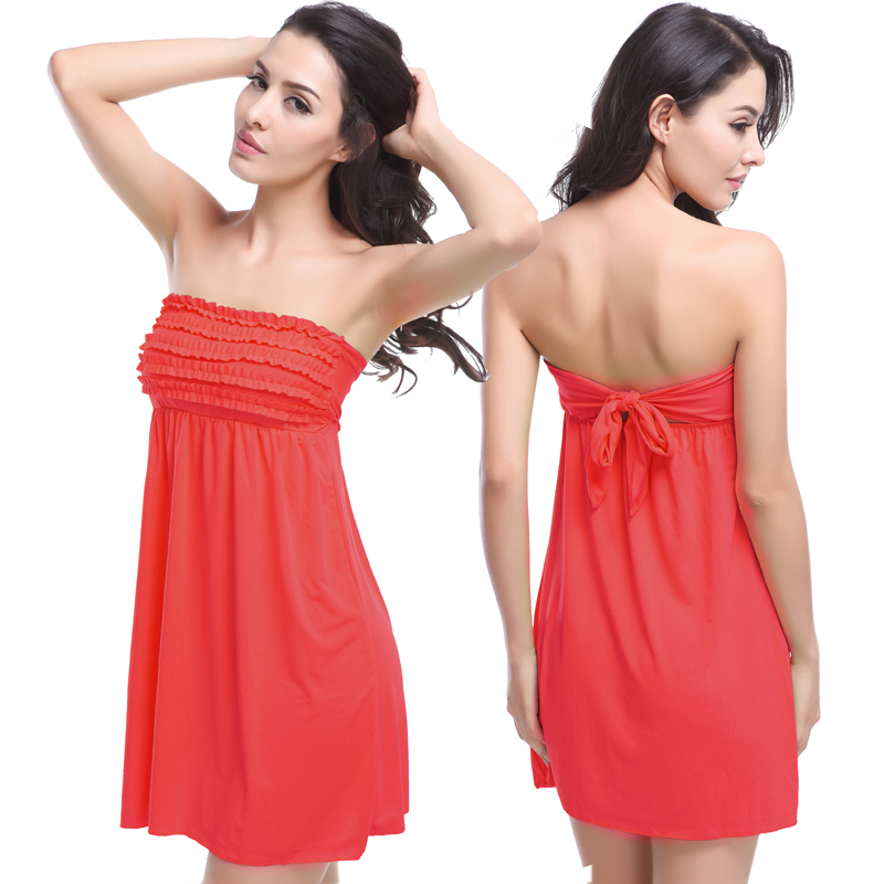 New Arrival mini Ruffled Top tied Back Feminine Beach dress 2018 Hot Sexy Bathing suit Cover Ups