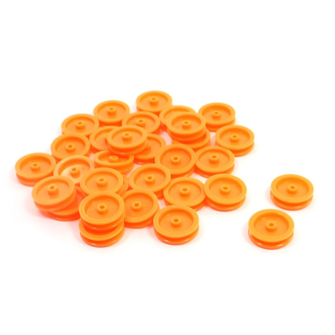 ABWE 30 Pcs 2mm Hole Orange Plastic Belt <font><b>Pulley</b></font> for DIY RC Toy <font><b>Car</b></font> Airplane image