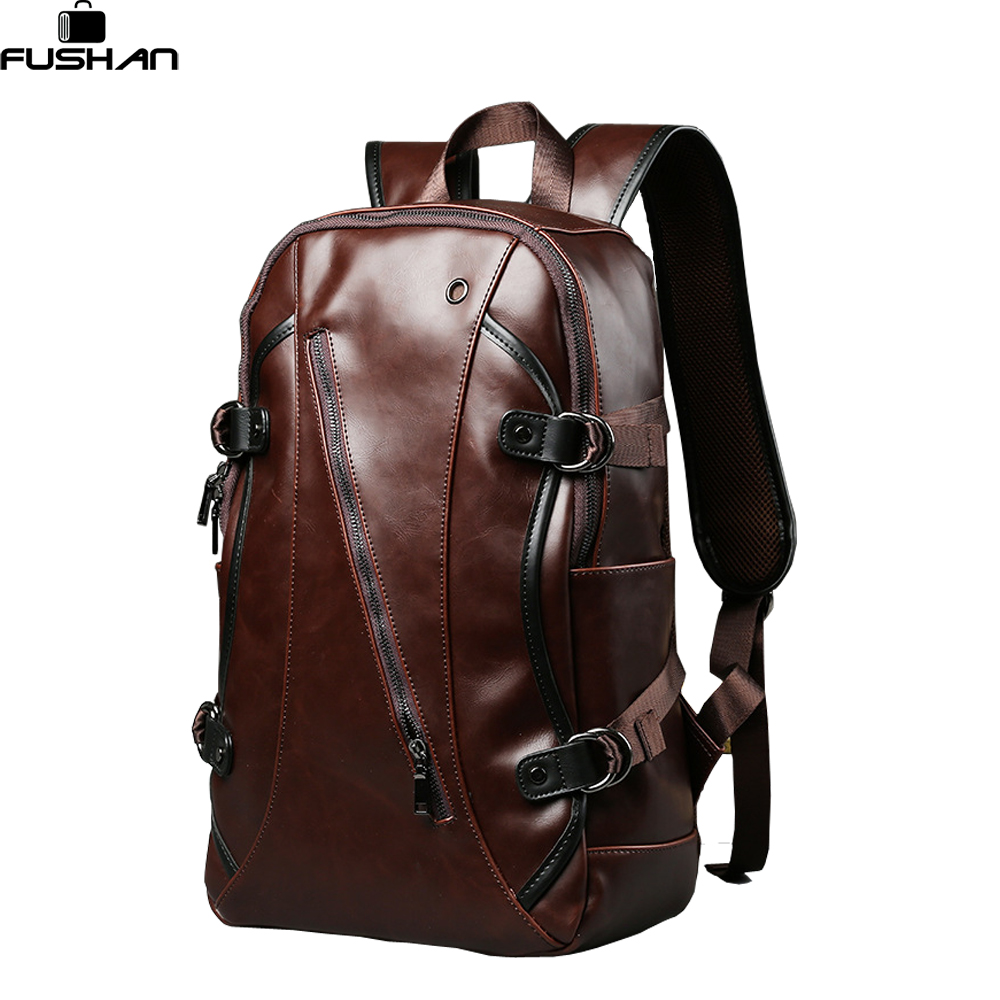 New Retro men backpacks Crazy horse Leather 14-inch computer backpack bag Students school bag color Brown 45*26*10cm