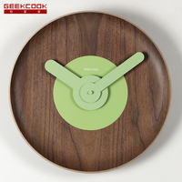 Geekcook Japan Style Plate Wall Clock Modern Design Wooden Brief Mute Wall Watch Living Room And