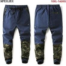 Outono dos homens harem calças camuflagem retalhos hipster elasticidade verão calças esportivas alta rua plus size grande 8xl 9xl 10xl azul