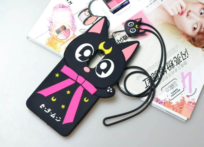 Cute 3D Cartoon Sailor Moon Luna Cat Soft Silicone Phone Case Cover For Xiaomi Redmi 2 4 Redmi Pro Redmi Note 3 4 Pro Prime