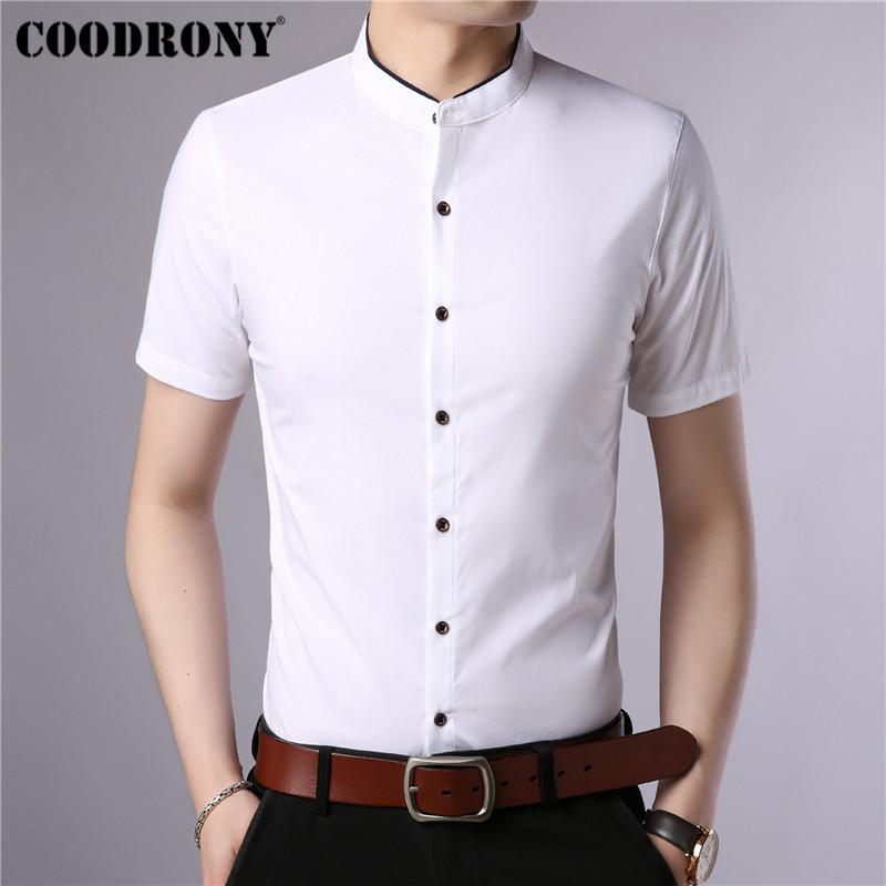 COODRONY Cotton Short Sleeve Men Shirt Summer Cool Shirt Men Chinese Style Mandarin Collar Business Casual Shirts Camisa S96017