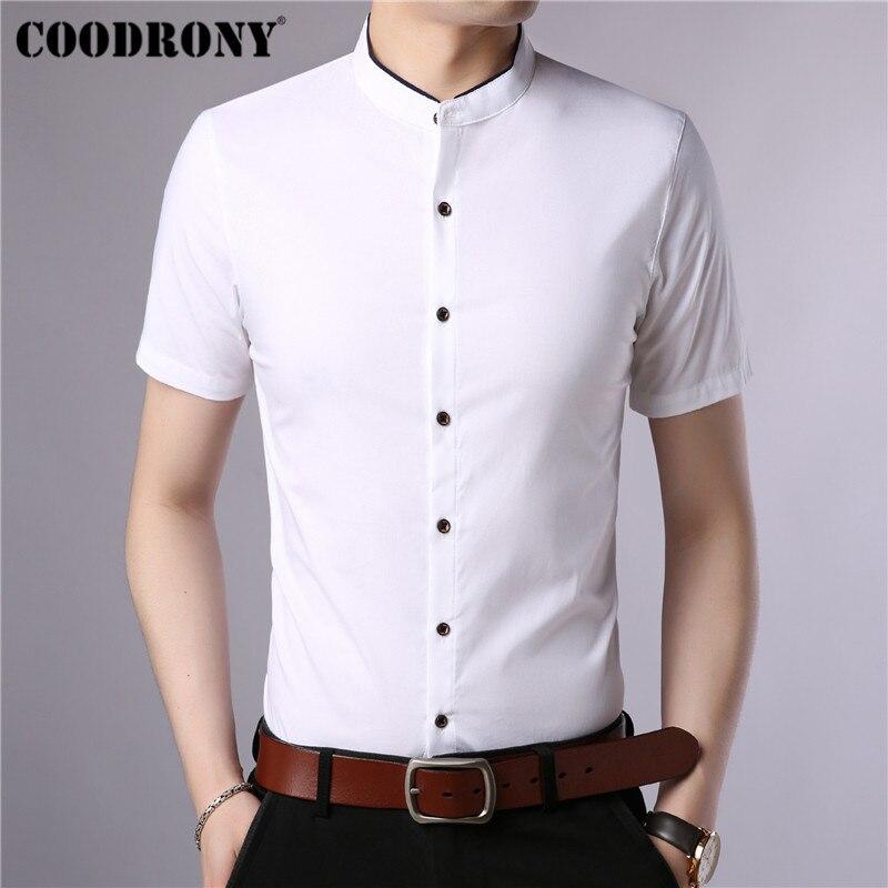 COODRONY Cotton Short Sleeve Men Shirt Summer Cool Shirt Men Chinese Style Mandarin Collar Business Casual Shirts Camisa S96017